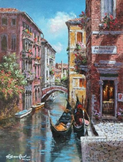 Gondolas on the Canal 2010 Limited Edition Print by Sam Park