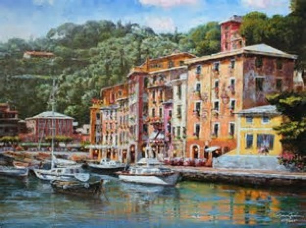 Dockside At Portofino 2010 Embellished  Limited Edition Print by Sam Park