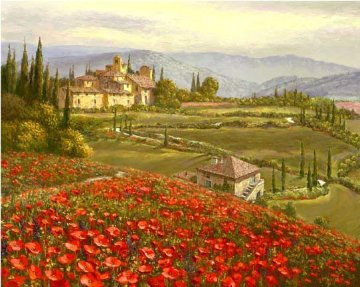 Tuscany Red Poppies 2010 Embellished Limited Edition Print by Sam Park