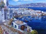 Mykonos Harbor Embellished 2010 Limited Edition Print - Sam Park