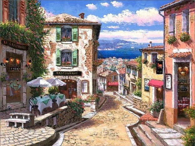 Rendezvous in Nice Embellished 2008 Limited Edition Print by Sam Park