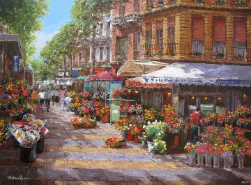 Barcelona Flower Market 2010 Embellished  Limited Edition Print - Sam Park