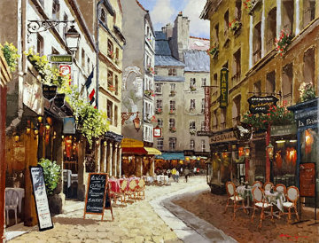 Parisian Cafe 2001 Embellished  Limited Edition Print - Sam Park