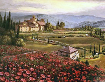 Tuscany Suite Sunflowers, And Poppies in Tuscany, Suite of 2 Embellished Limited Edition Print - Sam Park