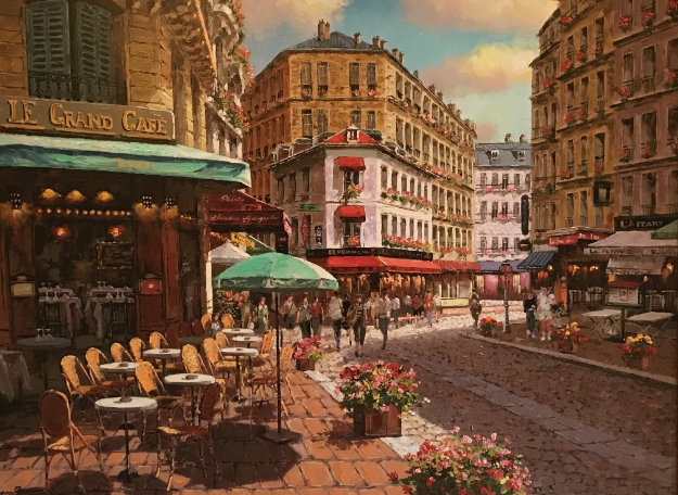 Le Grand Cafe 2010 Embellished Limited Edition Print by Sam Park