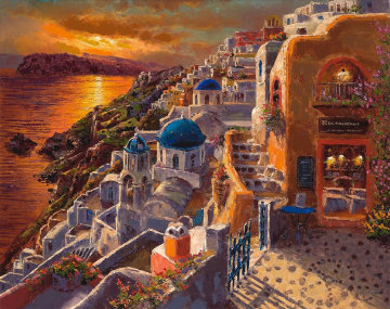 Santorini Sunset 2017 Embellished Limited Edition Print - Sam Park