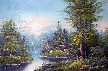 Untitled (Landscape) 30x41 (Early) Original Painting - Sam Park