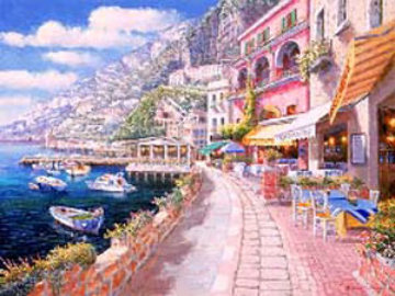 Dockside At Amalfi 2009 Embellished  Limited Edition Print - Sam Park