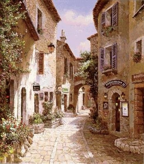 Morning in Provence - Eze PP Limited Edition Print by Sam Park