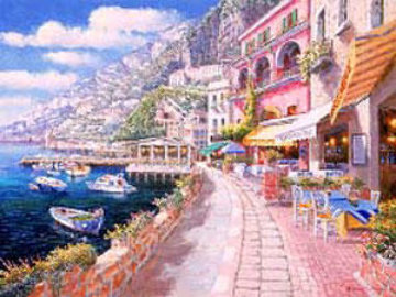 Dockside at Amalfi AP 203 Embellished  Limited Edition Print - Sam Park