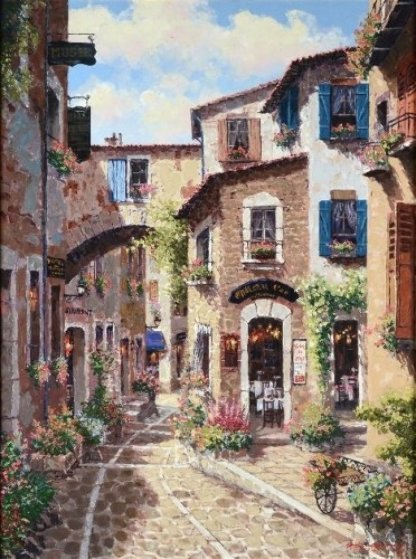 Antibes, With Huge Remarque on Verso 2002 Embellished Limited Edition Print by Sam Park