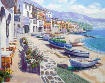 Boats of Calella 1995 Spain Limited Edition Print by Sam Park