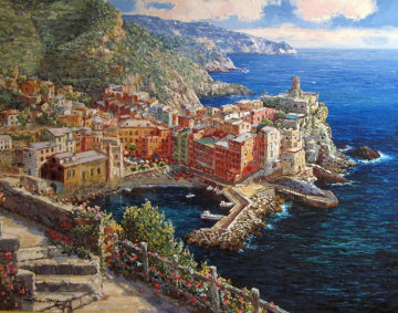 Vernazza, Italy 2005 Embellished Limited Edition Print - Sam Park