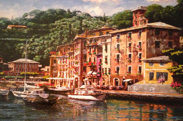 Dockside At Portofino 2013 Embellished  Limited Edition Print - Sam Park