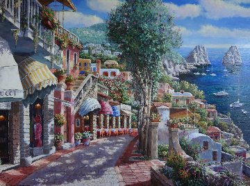 Afternoon in Capri 2002 45x57 Original Painting - Sam Park