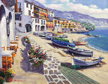 Boats of Callela 1995 Embellished  Limited Edition Print by Sam Park