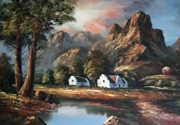 Mountain 1980 28x39 Original Painting - Lawton Silas Parker