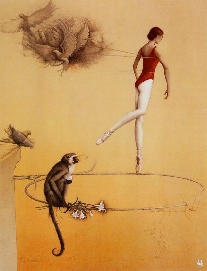 Practice Ring 1982 Limited Edition Print by Michael Parkes