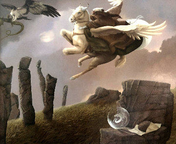 Last Dragon 1981 31x36 Original Painting - Michael Parkes