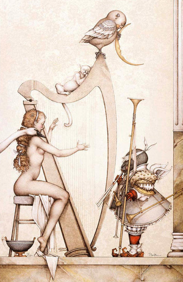 Moon Harp 1995 Limited Edition Print by Michael Parkes
