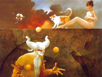 Juggler 1980 43x35 Original Painting - Michael Parkes