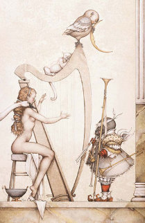 Moon Harp 2000 Limited Edition Print - Michael Parkes