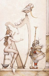 Moon Harp 2000 Limited Edition Print by Michael Parkes