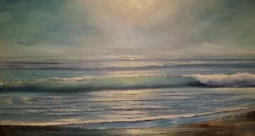 Ocean 1963 40x28 Original Painting by Violet Parkhurst