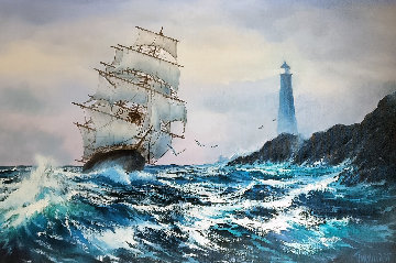Clipper Ship 1984 36x48 Super Huge Original Painting - Violet Parkhurst