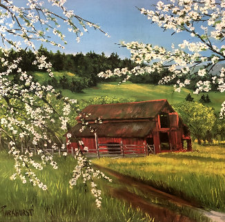 Untitled Landscape 1951 28x28 Original Painting - Violet Parkhurst