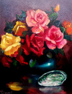 Roses And Abalone Shell 1960 24x18 Original Painting by Violet Parkhurst