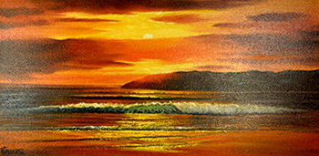 Red Sunset 1974 22x37 Original Painting by Violet Parkhurst