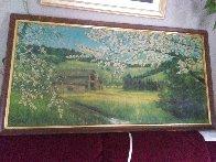 Untitled landscape 1951 24x48 Early Work Huge Original Painting by Violet Parkhurst - 1