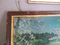 Untitled landscape 1951 24x48 Early Work Huge Original Painting by Violet Parkhurst - 2