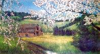 Untitled landscape 1951 24x48 Early Work Huge Original Painting by Violet Parkhurst - 0