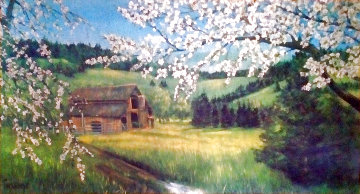 Untitled landscape 1951 24x48 Early Work Original Painting by Violet Parkhurst