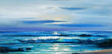 Untitled Seascape 1960 32x56 Original Painting - Violet Parkhurst