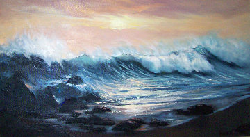 Carmel's Big Splash, California 24x48  Huge Original Painting - Violet Parkhurst