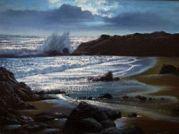 Malibu, California 1986 18x24 Original Painting - Violet Parkhurst