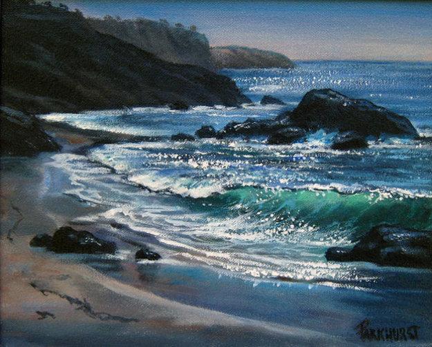 Blue Pacific 1990 8x10 Original Painting by Violet Parkhurst