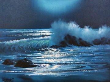 Malibu Moonlight, California 1981 18x24 Original Painting by Violet Parkhurst