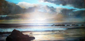 Untitled California Seascape  1969 28x53 Original Painting - Violet Parkhurst
