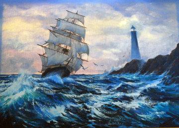 Clipper Ship 1984 36x48 Huge Original Painting - Violet Parkhurst