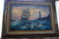 Clipper Ship 1984 36x48 Original Painting by Violet Parkhurst - 1