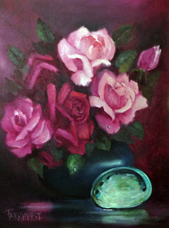 Untitled Still Life (Roses and Abalone Shell) 1983 24x30 Original Painting - Violet Parkhurst