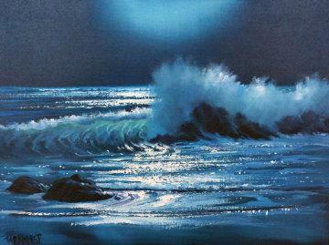 Malibu Moonlight 1971 26x32 Original Painting by Violet Parkhurst