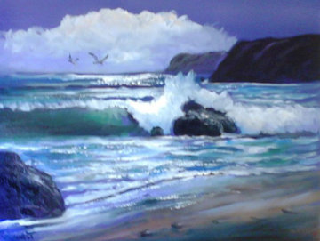 Gail's Foot Steps in the Sand 28x34 Original Painting by Violet Parkhurst