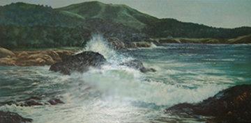 Untitled Seascape 29x53 Original Painting - Violet Parkhurst