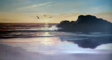 Carmel Beach - California 28x52 Original Painting - Violet Parkhurst