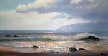 Sunny Day At Point Dume, California 1977 24x48 Super Huge Original Painting - Violet Parkhurst